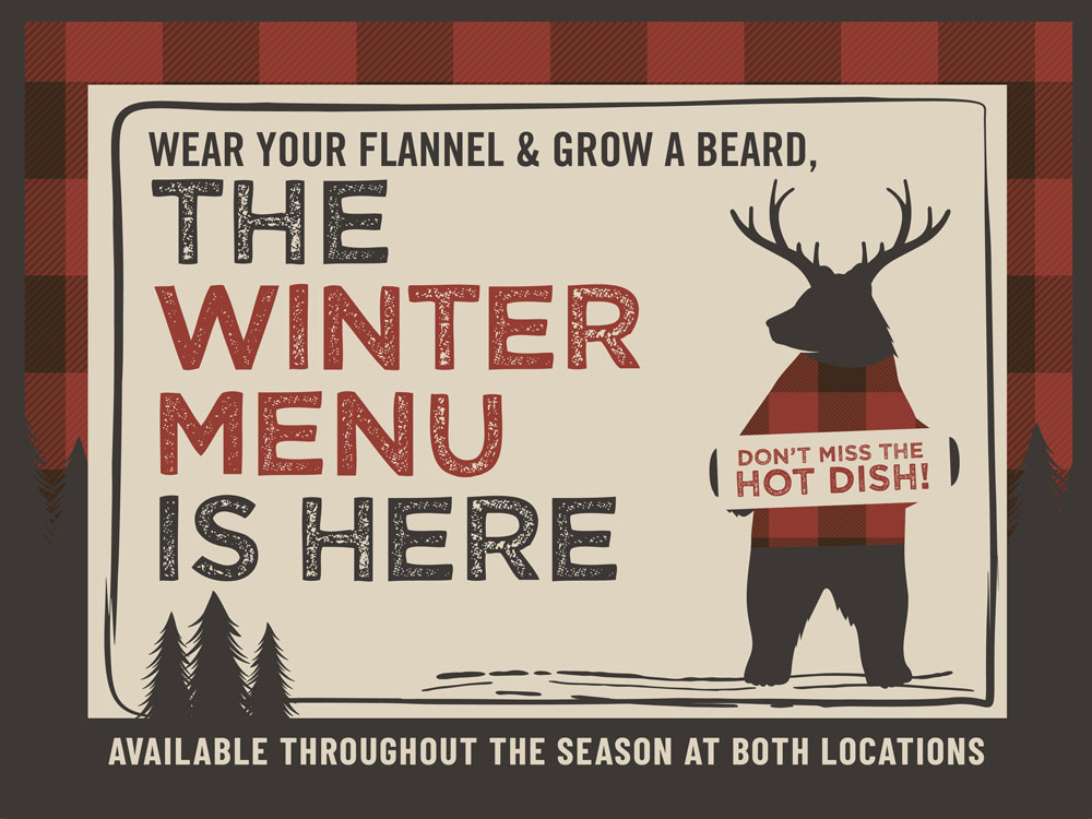 Wildwood Sports Bar new winter menu, new seasonal menu